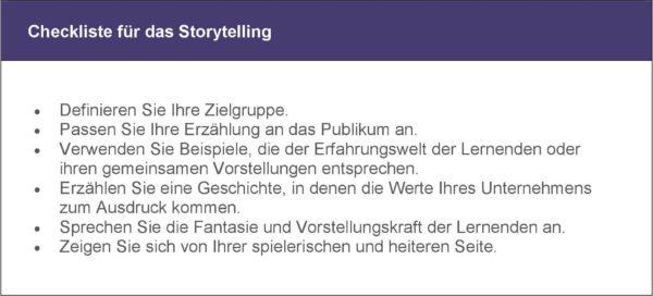 Bild für Beitrag Storytelling im E-Learning_Checkliste Storytelling